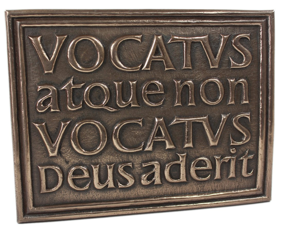 Celtic Plaque Vocatus Atque Non Vocatus Bronze Irish Made by Wild Goose