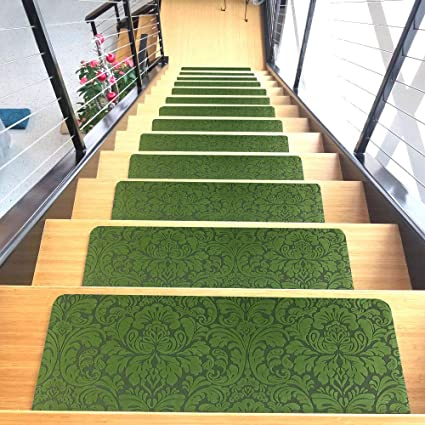 Bon Designer Indoor Stair Mats, Ultra Thin Microfiber Stair Carpet With  Slip Resistant Rubber