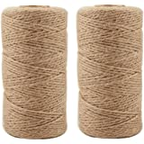 Jute Twine 656 Feet Natural Arts Crafts Jute Rope Durable Packing String for Photos, Gifts, Crafts and Gardening Applications(2pcs x 328feet)