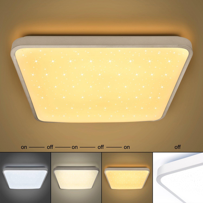 50W LED Deckenleuchte Eckig Sternenhimmel Warmweiß(4000-4500-5000LM) Wohnzimmerlampe Beleuchtung Funke Schlafzimmerleuchte Silber Energiesparende Möbeleinbauleuchte
