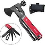 13 in 1 Camping Tools, 7 inch Survival Hatchet Multi Tool Kit with Hammer, Pliers, Screwdriver, Saw, Bottle Opener, Axe Multitool with Belt Pouch for Outdoor and Car Emergency