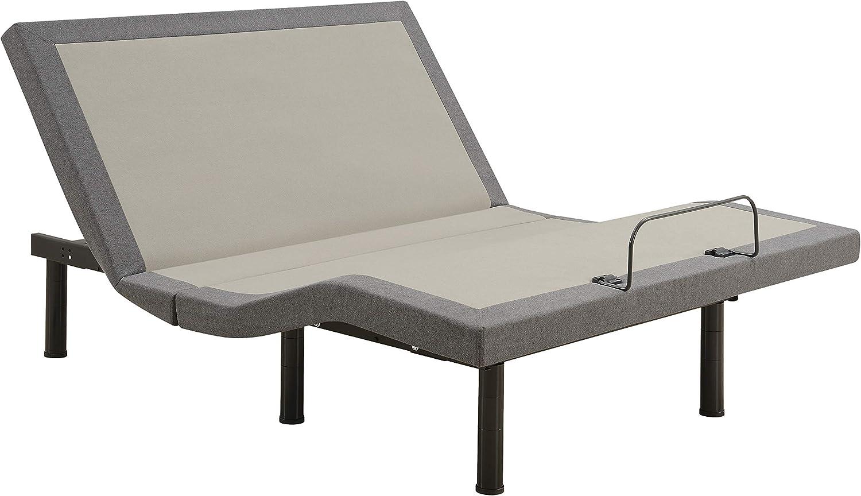 Negan Queen Adjustable Bed Base Grey and Black