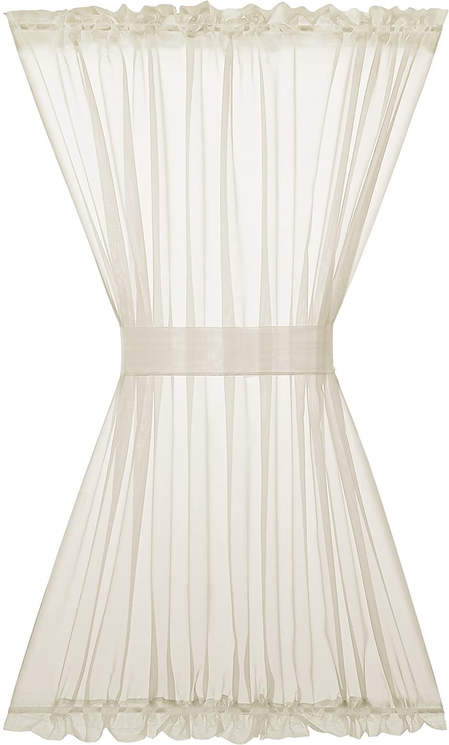 GoodGram Basic Sheer Voile Door Curtain with Tieback for Glass French Doors - Assorted Colors & Sizes (Ivory, Half Door Length)