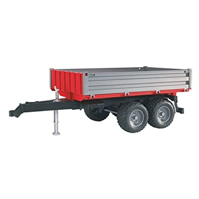 Bruder 02020 Tipping Trailer Accessory with Hitch for Farm Tractors, Construction & Forestry Trucks, Realistic Foldable Side Walls, 1:16 Scale: Toys & Games