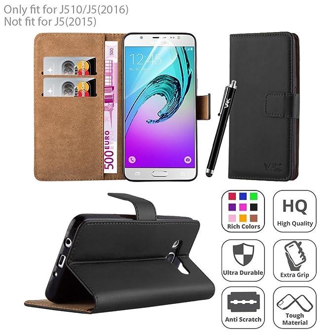 Samsung Galaxy J5 (2016) caso – Premium – Funda de piel sintética tipo libro funda para tarjeta de piel sintética con Protector de pantalla, gamuza de ...