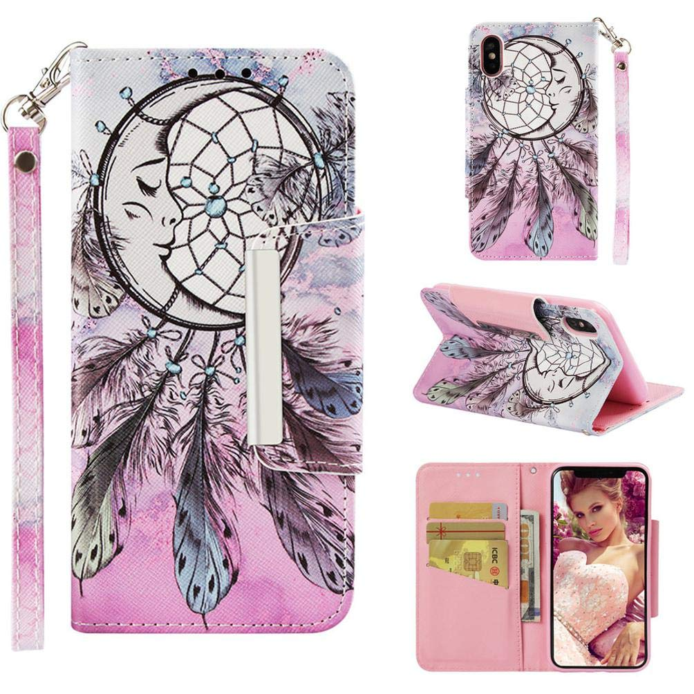 Case for iPhone Xs Max,Flip Slim 3D Printing PU Leather Kickstand Card Slots Wallet Case with Wrist Strap & Magnetic Closure Inner Soft Shockproof ...