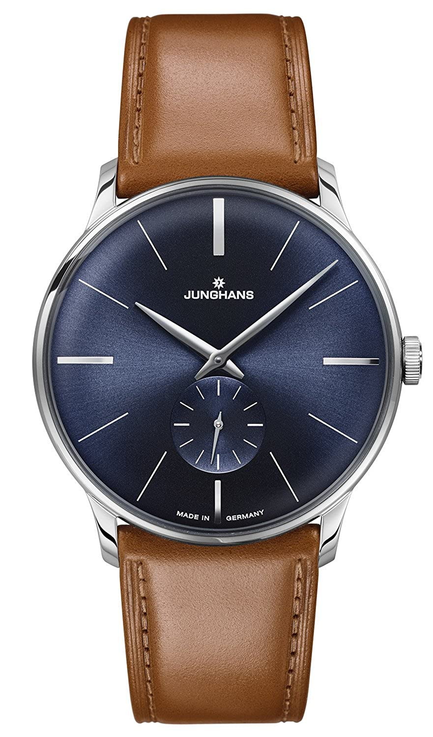 Junghans Meister Sunray Blue Dial Hand Woundブラウンレザーストラップ027 / 3504 B0119PUIEW