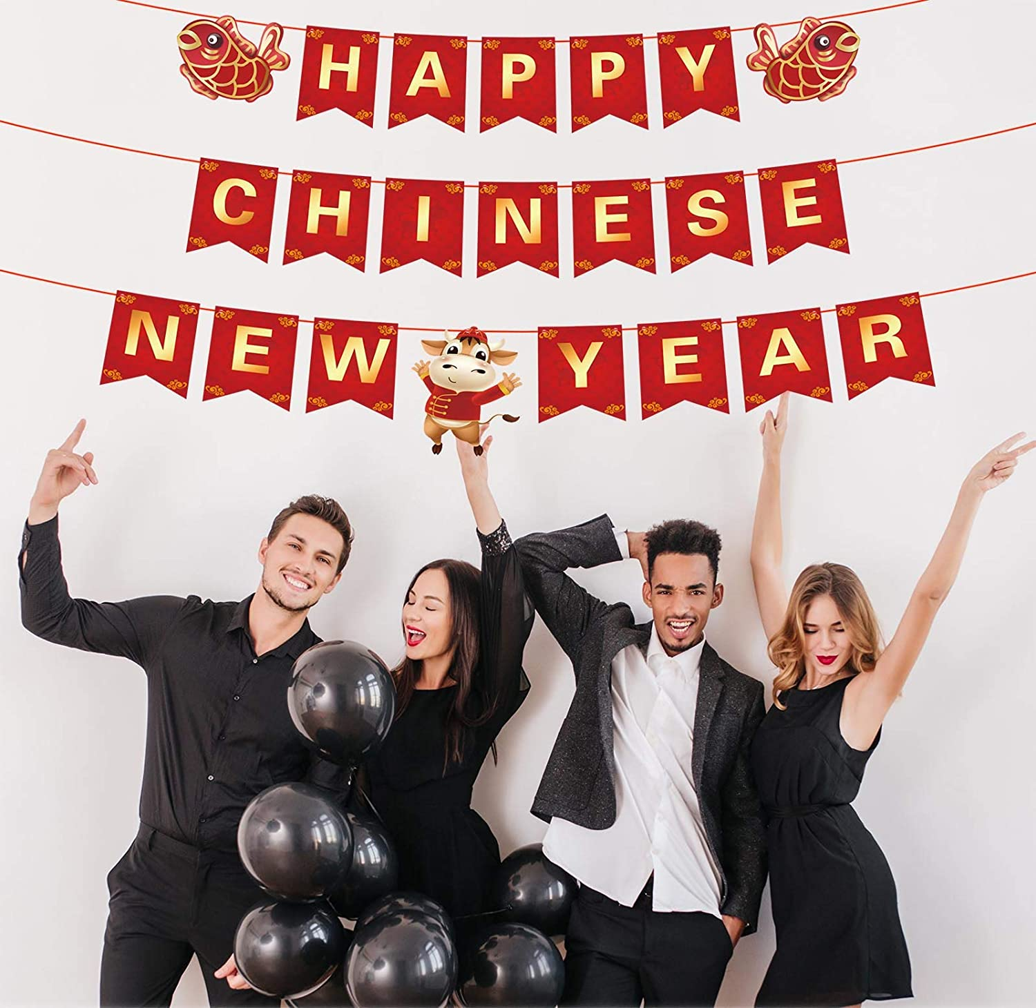 Happy Chinese New Year Banner 2021 New Year Theme Party Decor Picks for Year of The Oxin Decorations Supplies