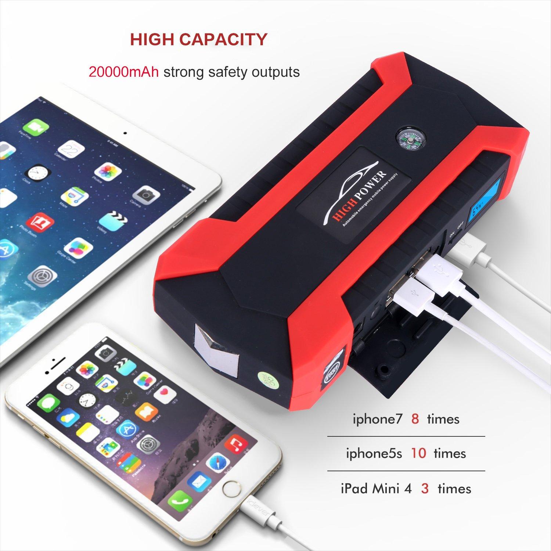 amazon com car jump starter portable power bank 600a peak 20000ah