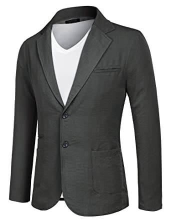 1cb382a63aea COOFANDY Mens Slim Fit Suits Casual Solid Blazer Jackets Two Button Flap  Pockets Gray