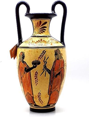 Amphora Vase Greek Ceramic Pottery Painting Goddess Hera God Zeus