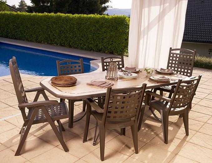 Grosfillex - salón de jardín Amalfi Bronce + 4 sillones ...