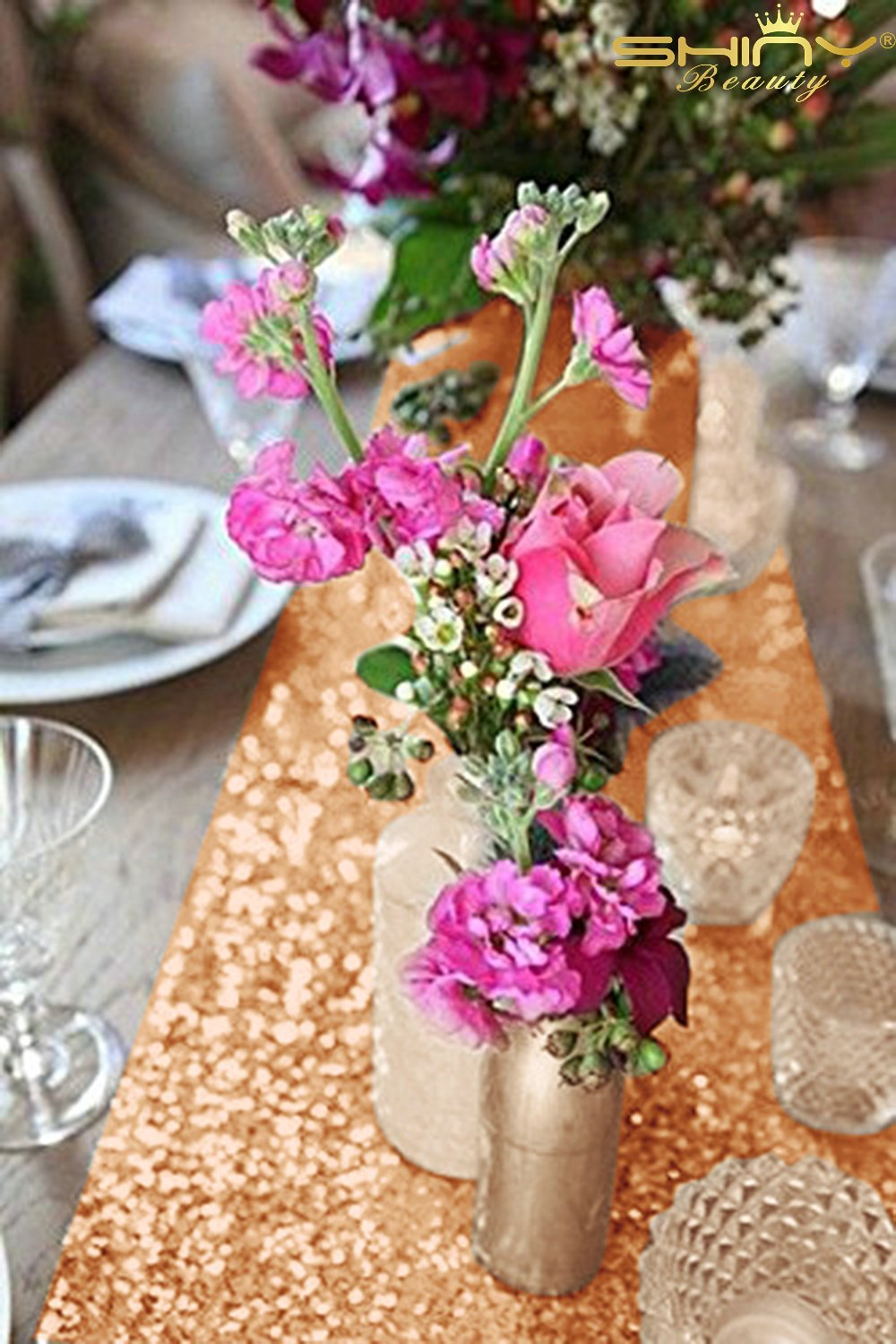 Rose Gold Bridal Shower Decorations 5Pcs Rose Gold 12''x72'' Sequin Table Runners Rose Gold Party Supplies ~723S by ShiDianYi (Image #3)