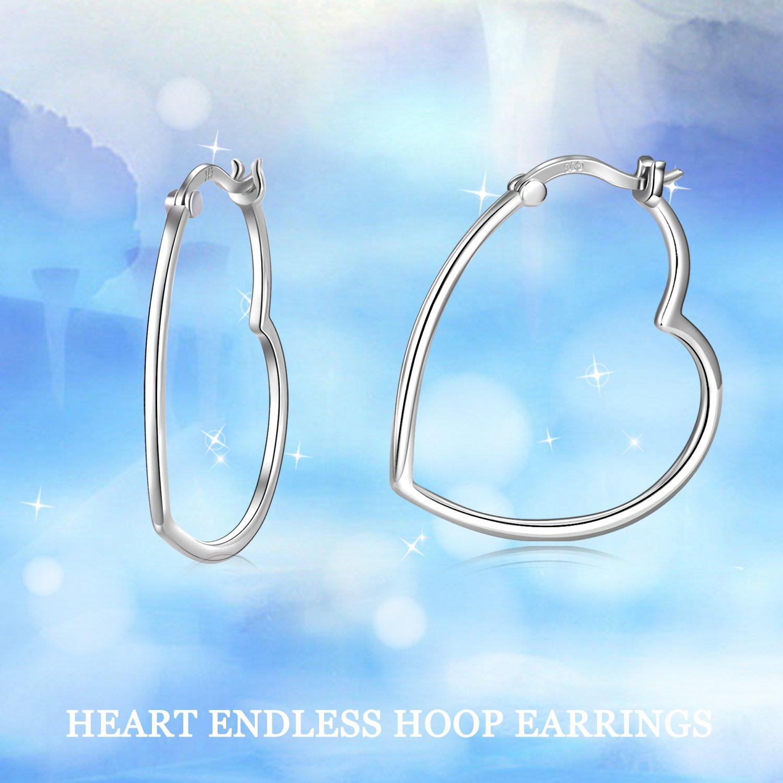 5e0534d2b Amazon.com: LUHE Heart Shaped Sterling Silver Hoop Earrings White Gold  Plated Sleek Statement Earrings Hoops for Women, Gift for Her: Jewelry