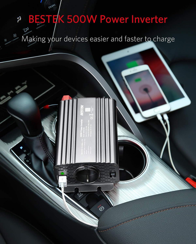 Gris BESTEK Inversor de Corriente 12V a 220V Inversor Onda Modificada 500W para Coche con 2 USB Puertos y 1 Toma de AC 1 Toma de Encendedor Mechero de Coche y 2 Clips de Cocodrilo