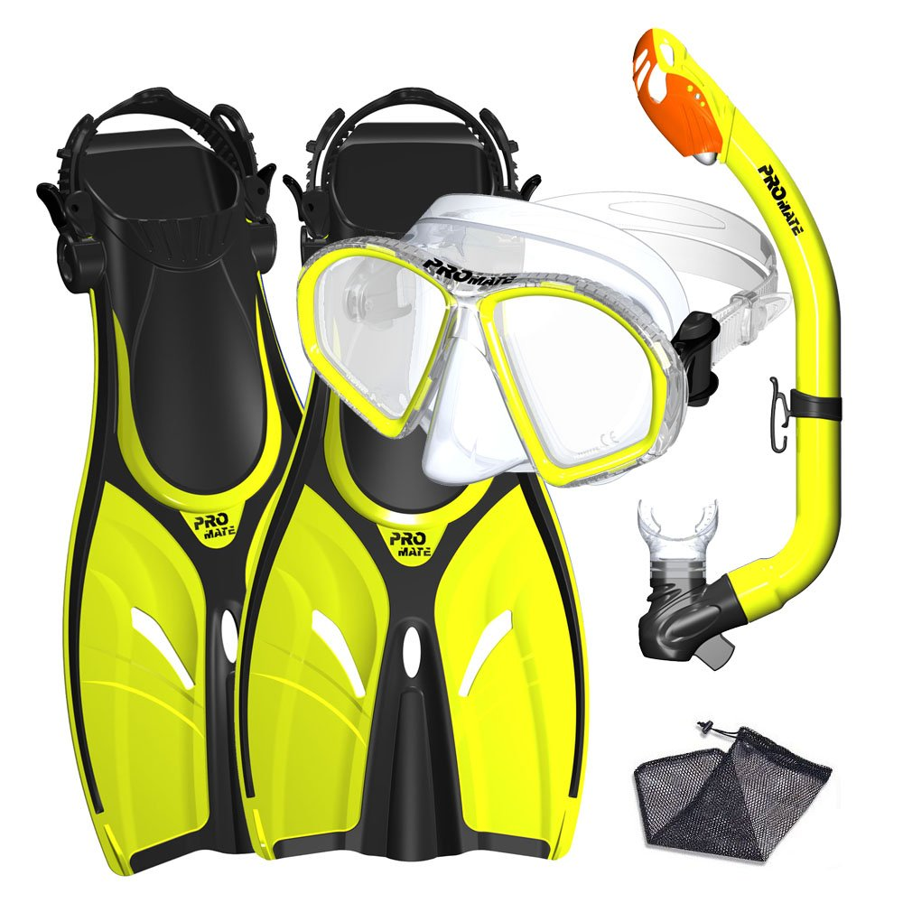 Promate Junior Mask Fins Snorkel Set for Kids, Yellow, LXL by Promate