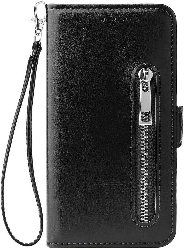 HUDDU Kompatibel mit Handyh/ülle f/ür Xiaomi Redmi 4X H/ülle Leder Wallet Schutzh/ülle Kartenf/ächer Rei/ßverschluss Brieftasche Magnetverschluss Filp Tasche PU Case St/änder Lederh/ülle Wristlet Rot