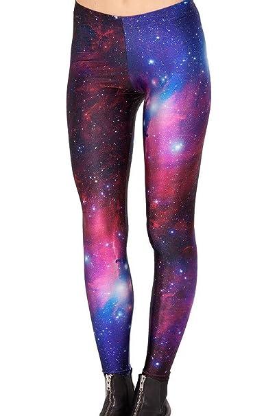 e56961c0b2 Idingding Womens Galaxy Star Printed High Waist Leggings Pants, Purple, XS