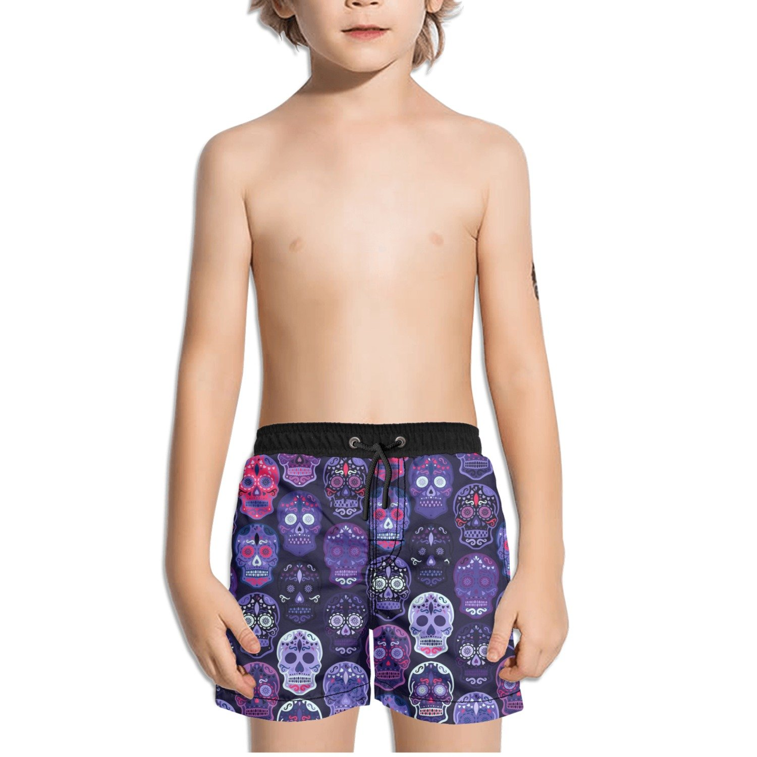 FullBo Purple Flower Skulls Little Boys Short Swim Trunks Quick Dry Beach Shorts