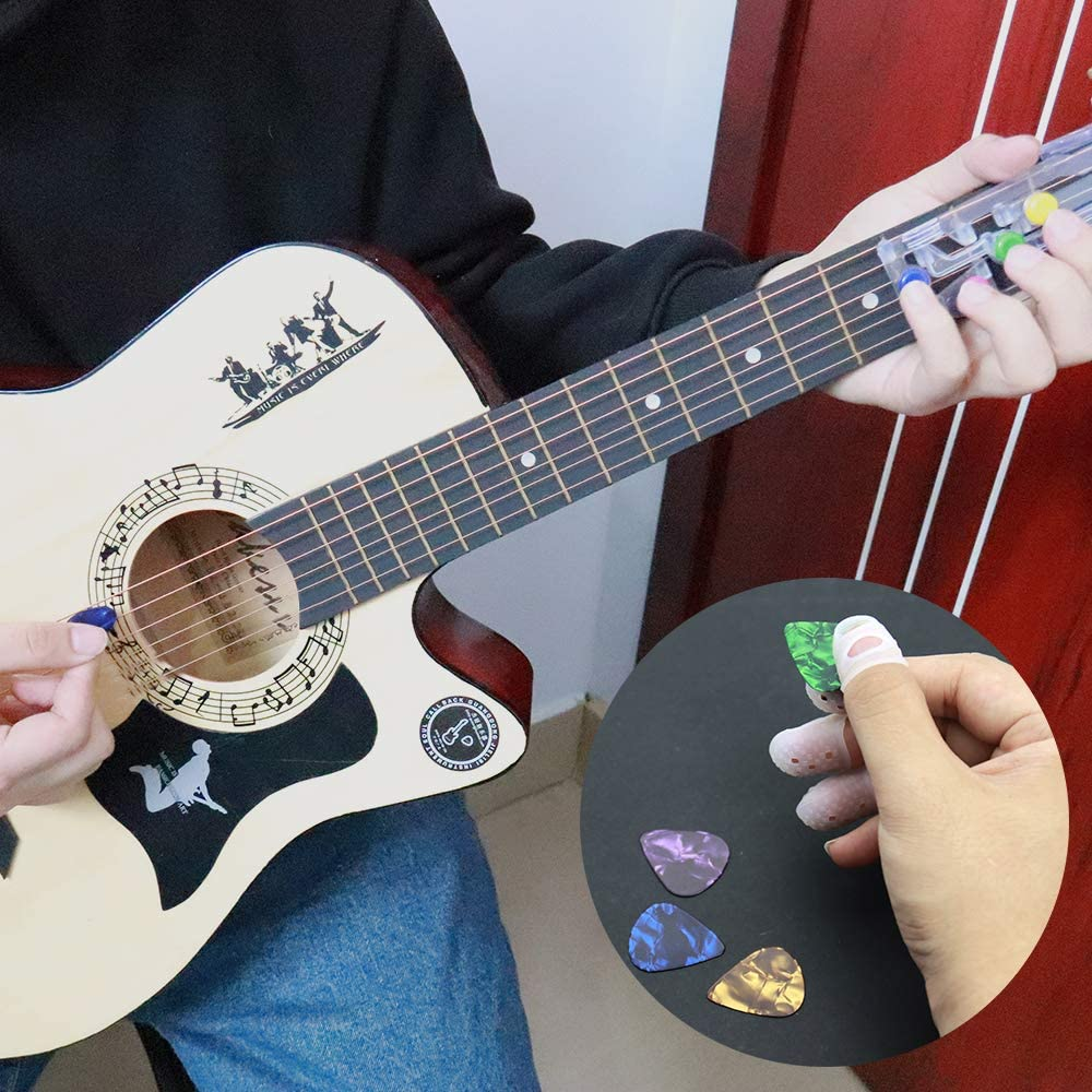Guitar Beginner Guitar Chord Assisted Learning Tools Classical Chord One Key Tool for Adults/&ChildrenTrainer Beginners With 4 Finger protectors+ 4 Picks