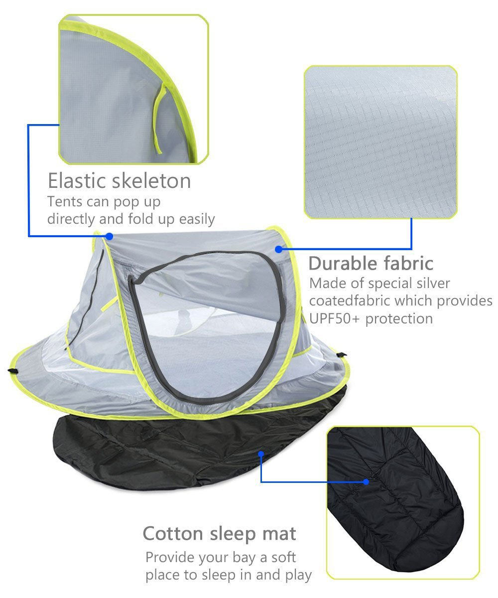 Baby Beach Tent UV Protection UPF 50+ Instant Beach Tent Sun Shelter Pop-up Outdoor Portable Newborn Travel Cribs Bed with Sleeping Pad, Mosquito Net and 2 Pegs Ultralight Weight by Monocho by Monocho (Image #4)
