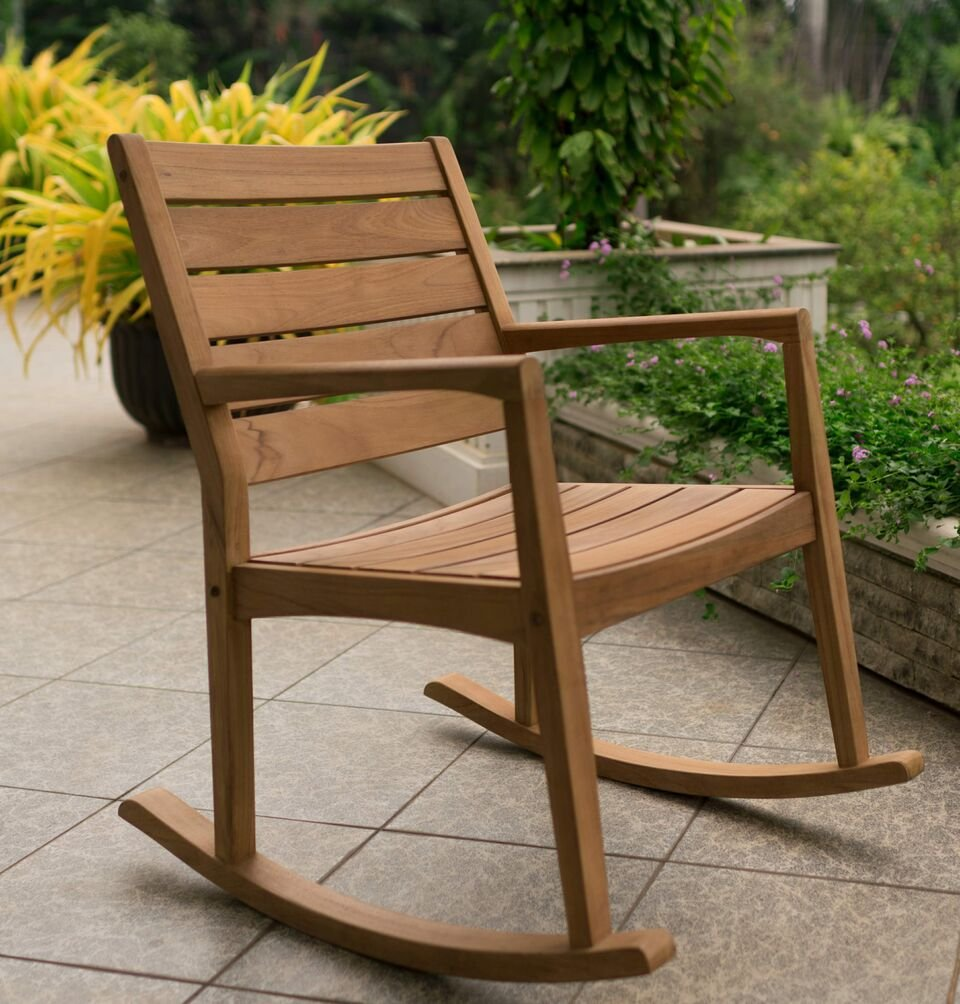 Cambridge-Casual AMZ-130809T Andrea Rocking Chair, Natural Teak