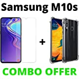 M.G.R.J® Transparent Back Cover and Tempered Glass for Samsung Galaxy M10s (Combo Pack)