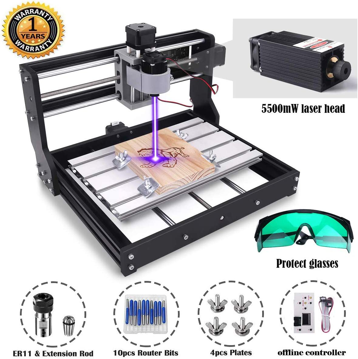 MYSWEETY 2-in-1 DIY CNC 3018-PRO 3 Axis CNC Router Kit with 5500mW 5.5W Module + PCB Milling, Wood Carving Engraving Machine with Offline Control Board + ER11 and 5mm Extension Rod