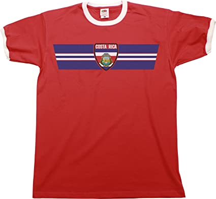 Mens World Cup 2018 T-Shirt Costa Rica Retro Strip Patriotic Ringer  Football Top c61af05aa
