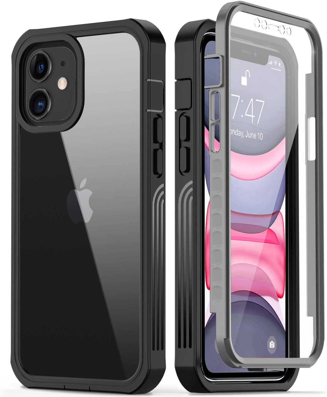 GOODON iPhone 11 Case with Built-in Screen Protector,Pass 20 ft. Drop Test Military Grade Shockproof Clear Cover 360 Full Body Protective Phone Case for Apple iPhone 11 6.1