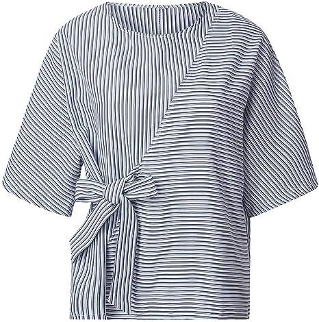 MOTOCO Camisa de Mujer Camiseta de Rayas Summermujer Camisa de Manga Corta con Encaje de Patchwork de Rayas Informal Camisa 3/4 de Manga Corta(XL, Azul): Amazon.es: Ropa y accesorios