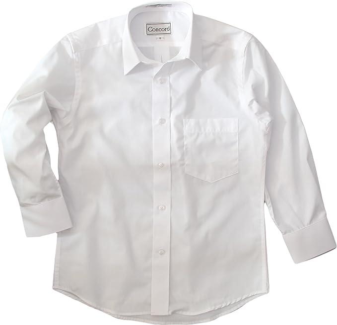 Boys Dress Shirt Long Sleeve Solid School Uniform Size 20 Wrinke-Free A Fabrics