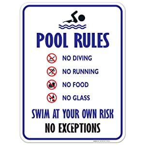 Pool Rules Sign, No Diving No Running No Food No Glass, 18x24 Inches, Rust Free .063 Aluminum, Fade Resistant, Easy Mounting, Indoor/Outdoor Use, Made in USA by Sigo Signs