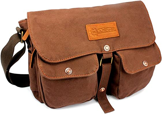 Men Vintage Canvas Leather Satchel School Military Shoulder Bag Messenger Bag AO
