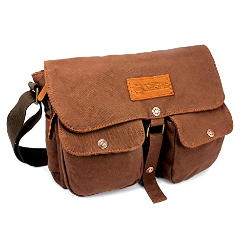 761d4ca77022 GEARONIC TM Men s Vintage Canvas Leather Tote Satchel School Military  Shoulder Messenger Sling Crossbody Hiking Bag