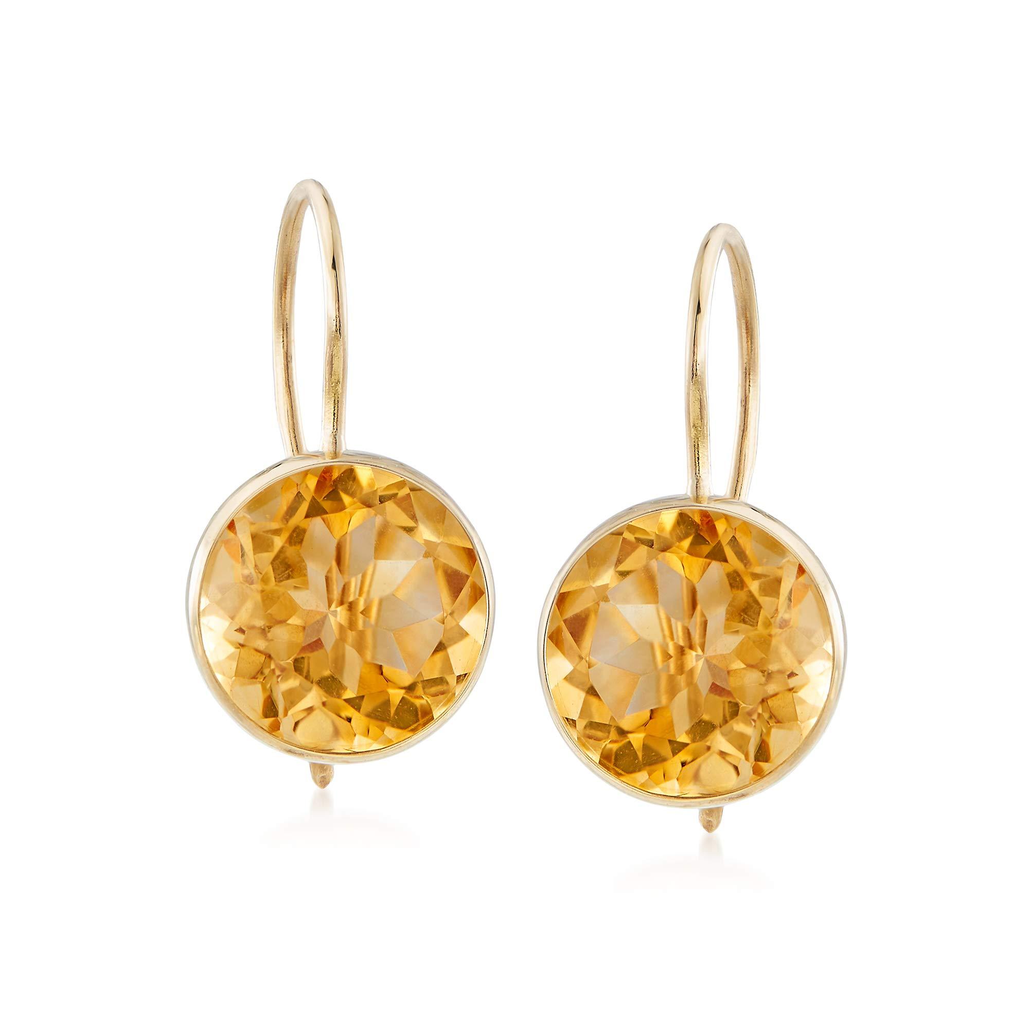 Ross-Simons 3.20 ct. t.w. Citrine Drop Earrings in 14kt Yellow Gold