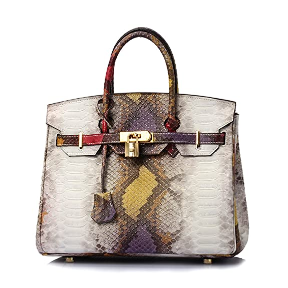 253a8010cf4e Lalagen Women's Snakeskin Embossed Genuine Leather Top Handle Padlock Bag  and Shoulder Handbag