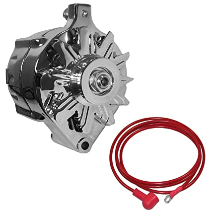 NEW POWERMASTER CHROME ALTERNATOR, V-BELT PULLEY, 140 AMP, COMPATIBLE WITH  FORD, LINCOLN, MERCURY