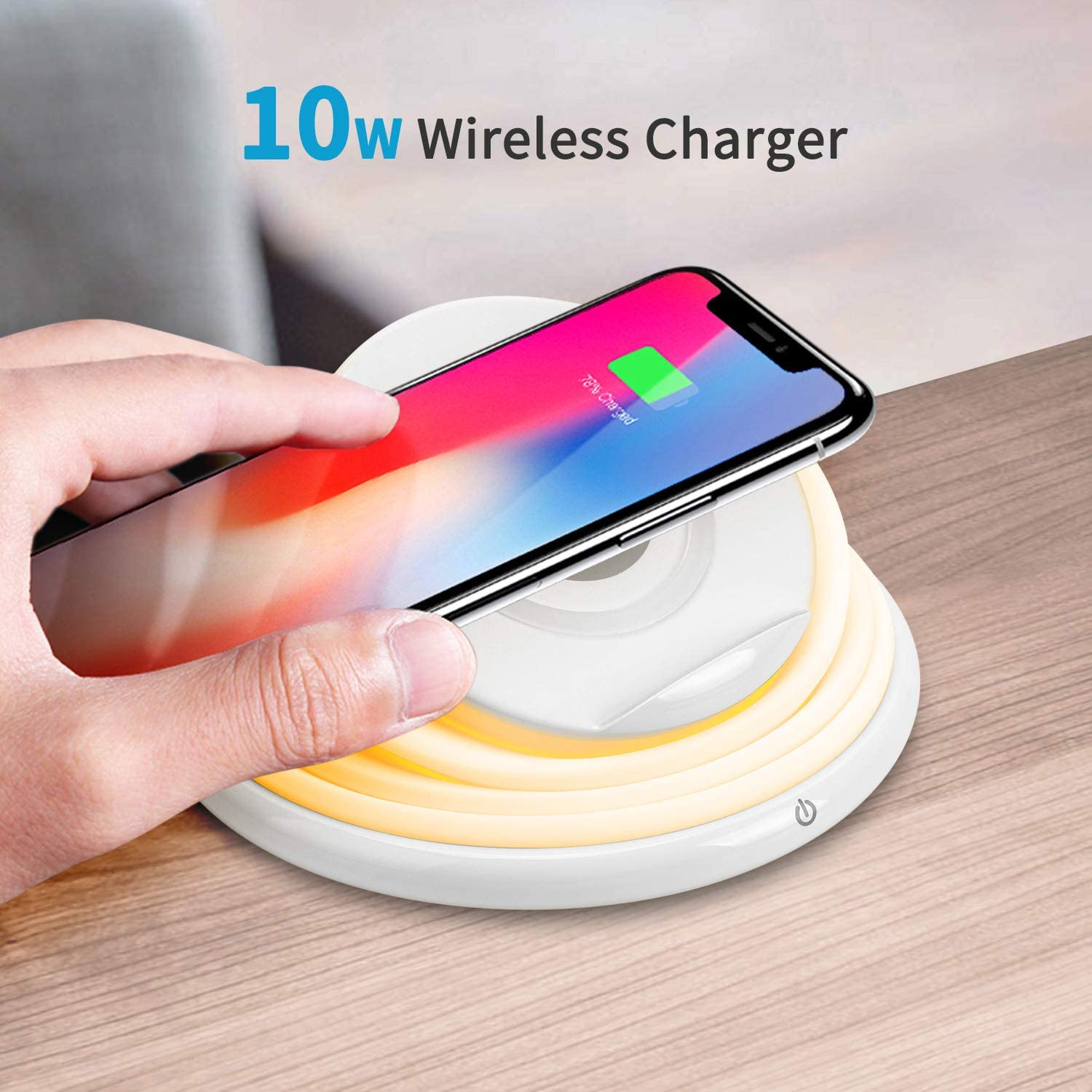 Wireless Charger 10W Qi JACKYLED Fast Charging Phone Stand with Foldable LED Night Light Adjustable Colors Compatible with iPhone AirPods2 Galaxy