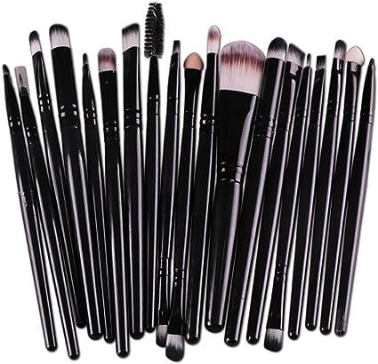 20pc cepillo set,ZARLLE Profesional Pincel de Maquillaje,Brochas para maquillaje facial,Base líquida,Sombra,Delineador de ojos,Brillo de labios Brocha de maquillaje (Una talla, Negro): Amazon.es: Belleza