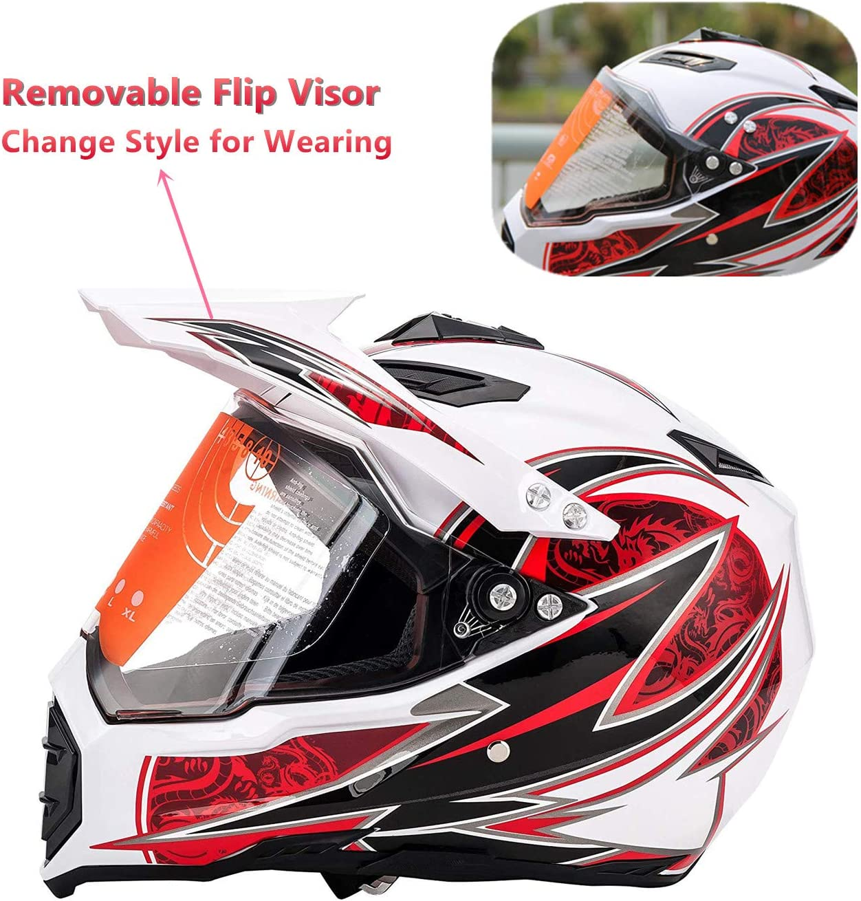 MotorFansClub Motorcycle Modular Full Face Helmet Off-Road Dirt Bike Motorcycle Flip Up Dual Visor Sun Shield Fit for Compatible with Adult Red, X-Large