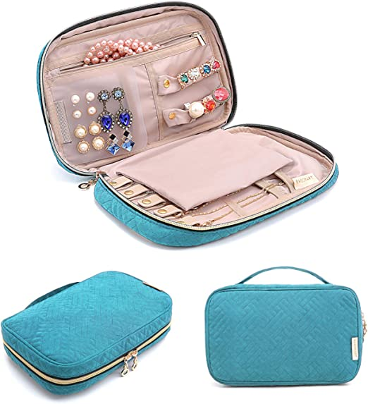 Bracelets Rings Portable /& Practical,Soft Blue Widousy Travel Jewelry Organizer Roll Foldable Jewelry Case for Multiple Necklaces Supple Leather /& Suede Large Capacity Without Crease Lightweight