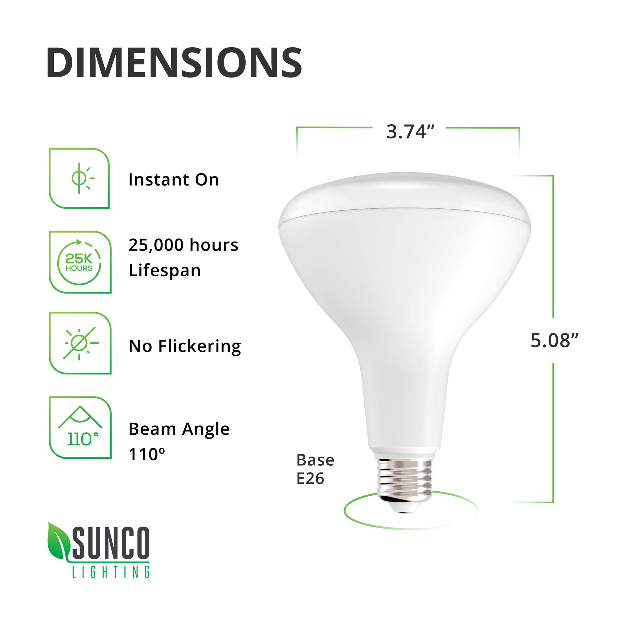 Sunco Lighting 48 Pack BR30 LED Bulb 11W=65W, 2700K Soft White, 850 LM, E26 Base, Dimmable, Indoor Flood Light for Cans - UL & Energy Star by Sunco Lighting (Image #4)