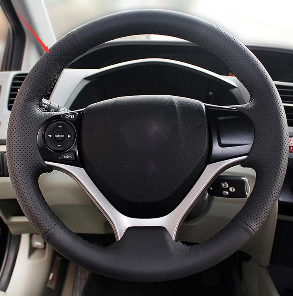 Salusy Hand Sewing Black Leather Steering Wheel Cover For Honda Civic//Civic Coupe 2016-2019//Civic Hatchback 2017-2019//CRV CR-V 2017 2018