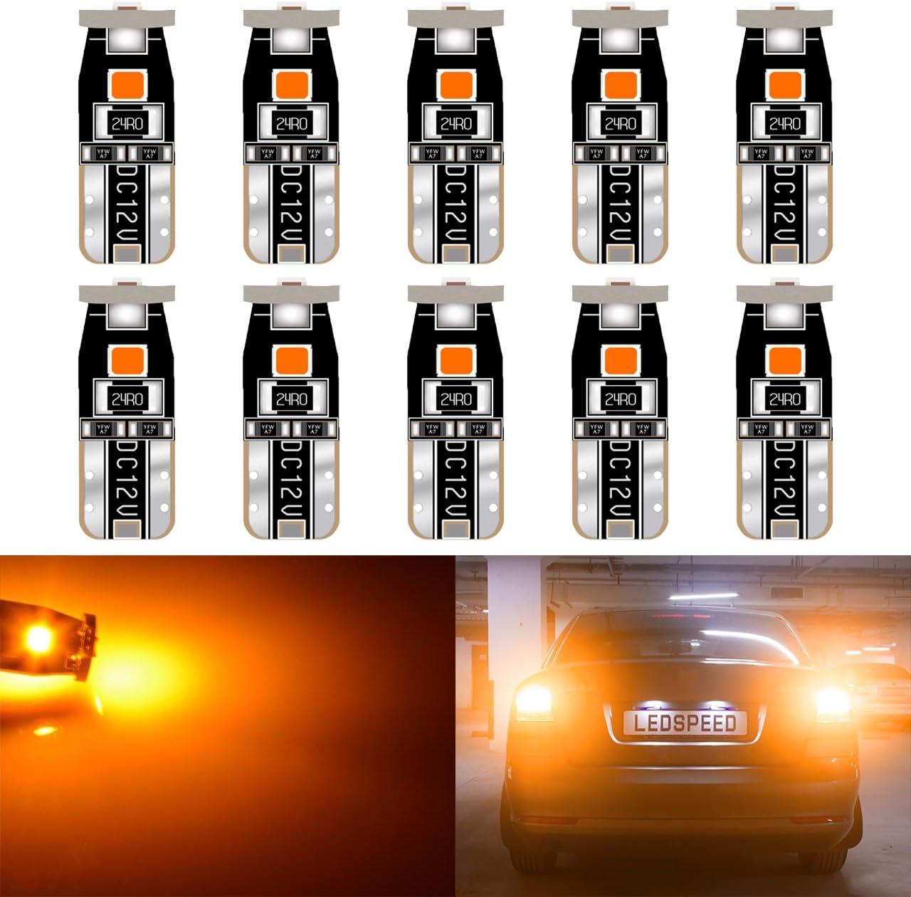 KATUR Extremadamente Brillante 194 Bombillas LED 3030 Chips T10 168 175 192 2825 Cuña Mapa de cúpula del Interior del automóvil Cortesía de la Placa de matrícula Luces 6000K Ámbar 12V (Paquete de 10)