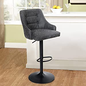MAISON ARTS Swivel Adjustable Bar Stool with Back for Kitchen Counter Padded Counter Height Faux Leather Bar Chair with Heavy Duty Base for Pub Cafe Dining, 300LBS Weight Capacity, Grey, 1 Stool