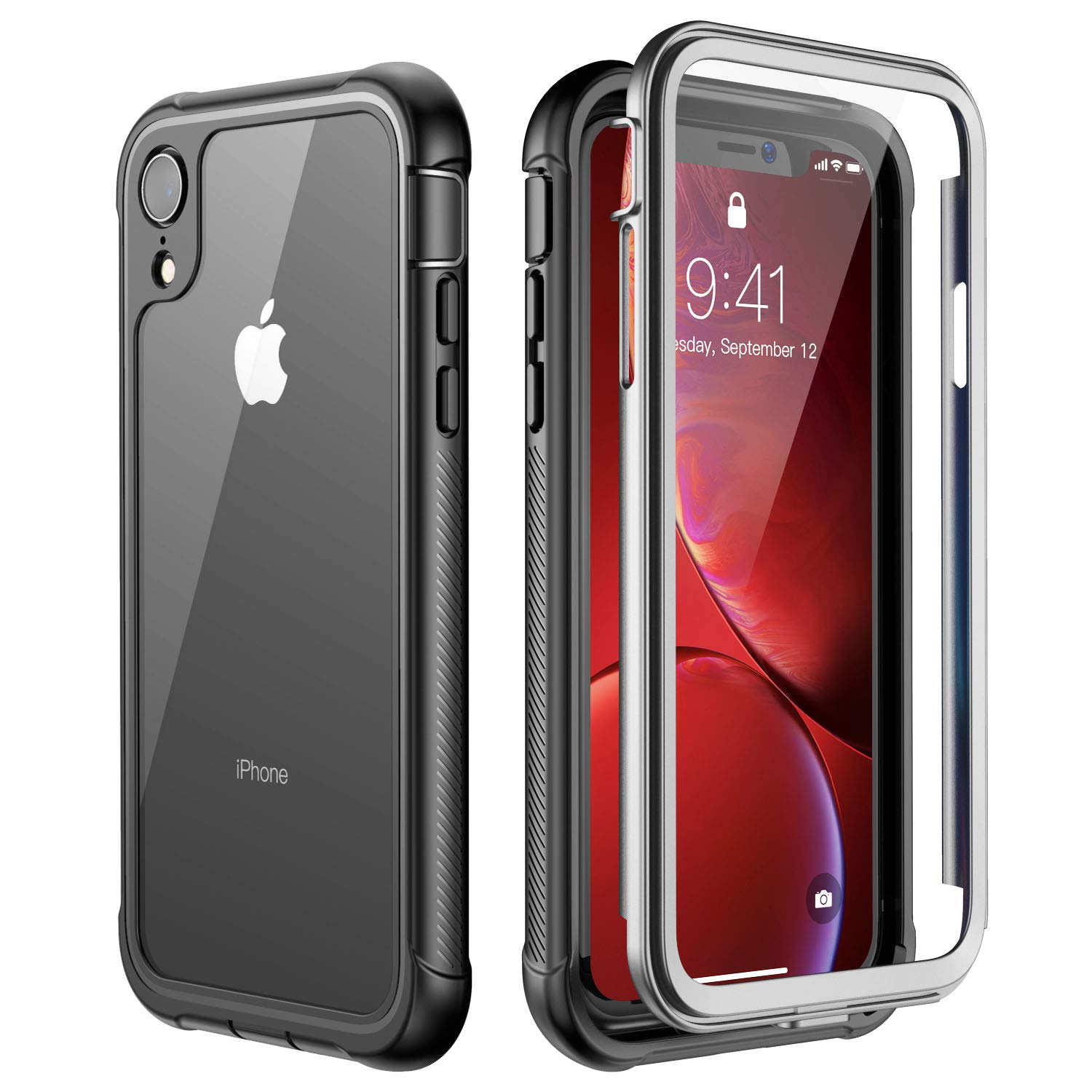 competitive price a6abd 08e94 ATOP iPhone Xr case, Full-Body Protection Rugged Clear Bumper Case with  Built-in Screen Protector,Heavy Duty Dropproof Shockproof Case for iPhone  Xr ...