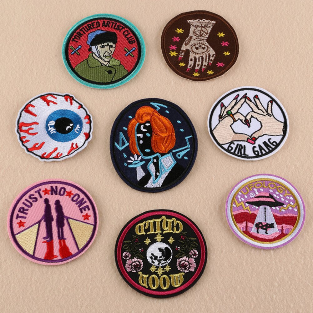 Cool Patches Fabric Embroidered Patches Motif Applique Kit, Perfect Ironed on Jackets, clothing Assorted Size Decoration Sew On Patches DIY (8 Pc) CJC
