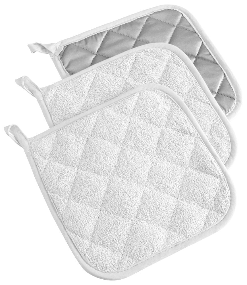 DII 100% Cotton, Machine Washable, Heat Resistant, Everyday Kitchen Basic, Terry Pot Holder, 7 x 7, Set of 3, White