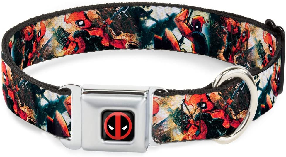 New color Buckle-Down DPA Dead Pool Logo Red Dog 25% OFF Collar White Black